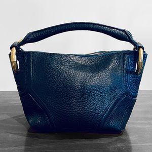 KENNETH COLE Blue Pebbled Leather Handbag